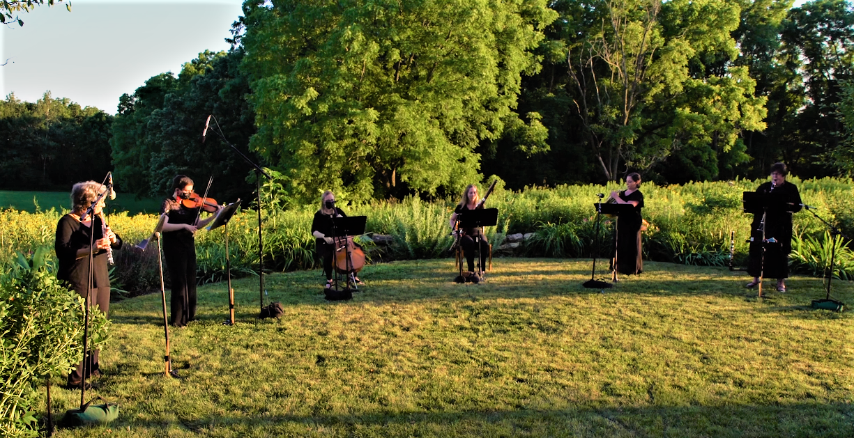 The Oakwood Chamber Players preforming on the prairie
